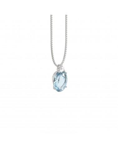 Pendente in oro bianco con diamante e acquamarina ct 0.65