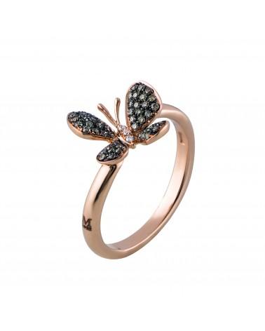 Anello in oro rosa farfalla con diamanti brown