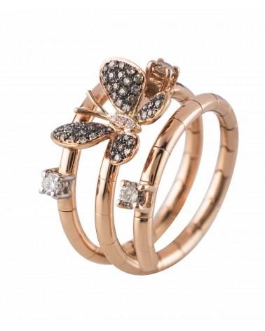 Anello in oro rosa fascia farfalla  con diamanti brown