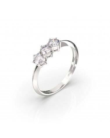 Trilogy  in oro bianco  a titolo 750/1000 con tre diamanti  caratura  complessiva ct 0, 60   colore H  purezza SI