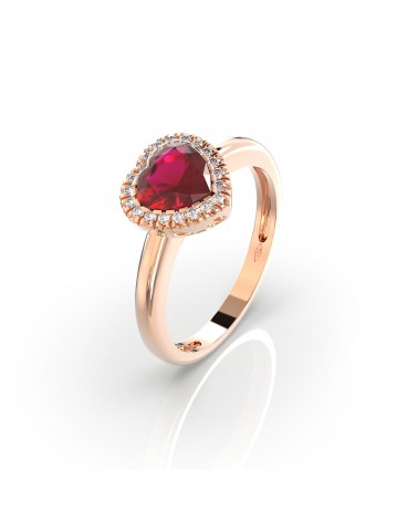 Anello in oro rosa con diamanti e rubino cuore