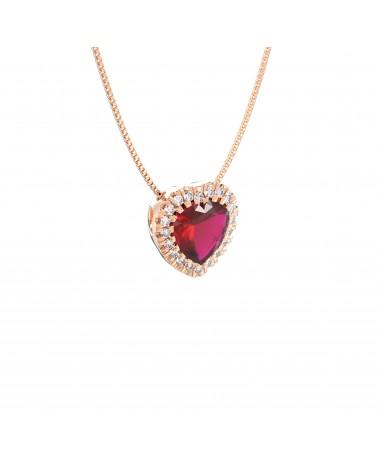 Pendente in oro bianco con diamanti e rubino cuore