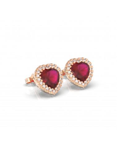 Orecchini in oro rosa con diamanti e rubini cuore