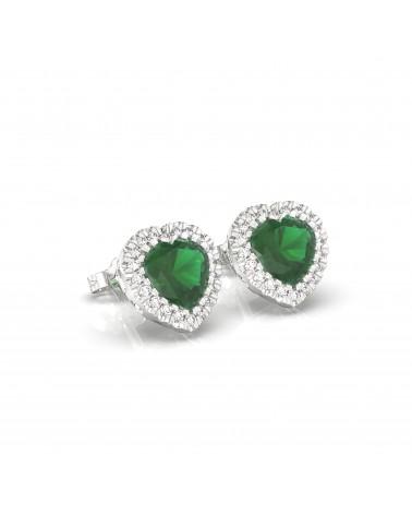 Orecchini in oro bianco con diamanti e smeraldi idrotermali cuore