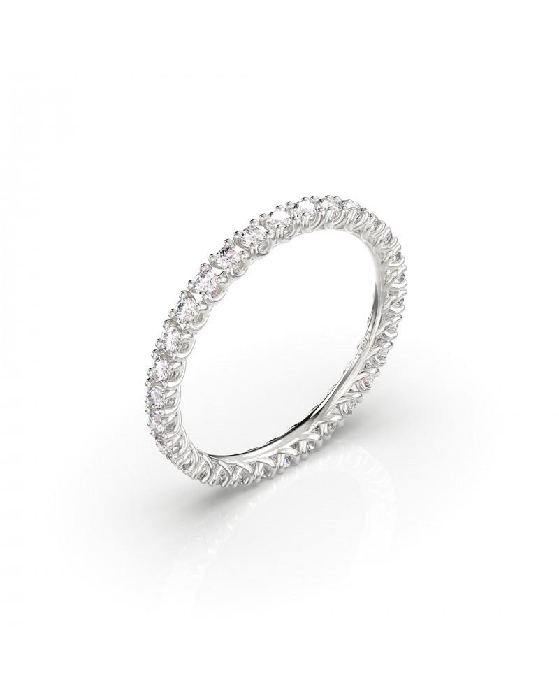 Anello in oro bianco con diamanti 0,78 H SI