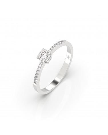 Anello in oro bianco etoile con diamanti 0.17 H SI