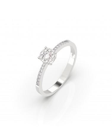 Anello in oro bianco etoile con diamanti 0.25 H SI