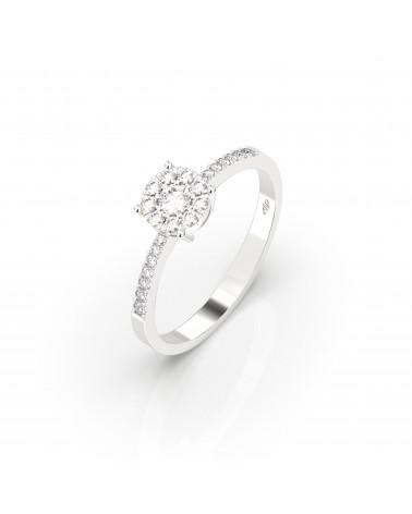 Anello in oro bianco etoile con diamanti 0.30 H SI