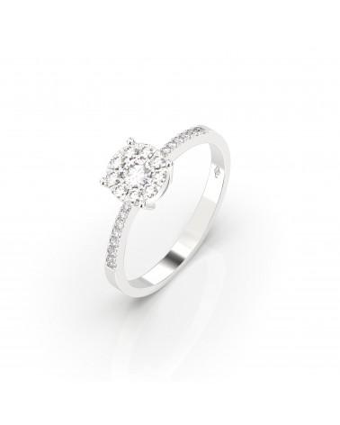 Anello in oro bianco etoile con diamanti 0.35 H SI
