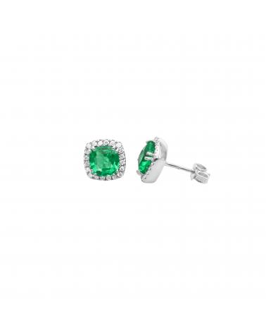 Orecchini in oro bianco con diamanti e smeraldi
