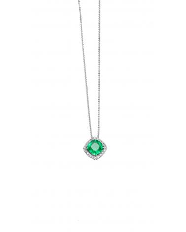 Pendente in oro bianco con diamanti e smeraldo