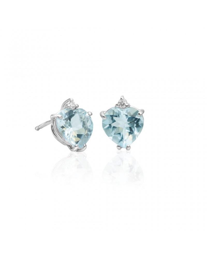 Orecchini in oro bianco con diamanti e acquamarina