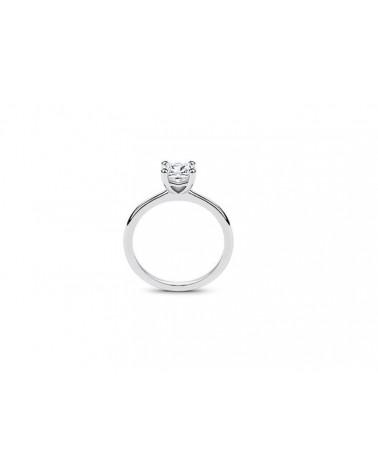 Anello in oro bianco con diamante solitario 0,80 E Vs2