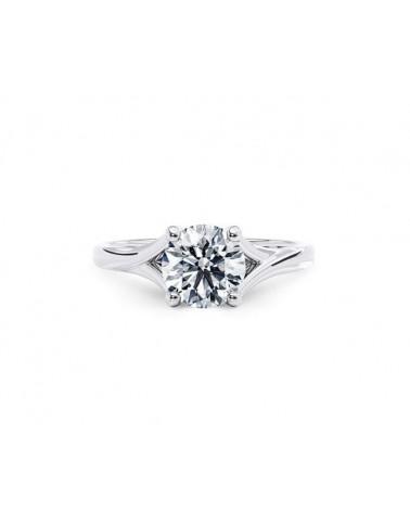 Anello in oro bianco con diamante solitario 0,90 E Vs1