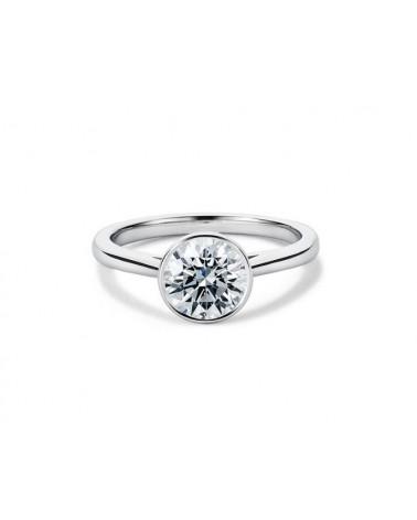 Anello in oro bianco con diamante solitario 0,50 G SI