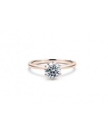 Anello in oro rosa con diamante solitario 0,60 F Vs2