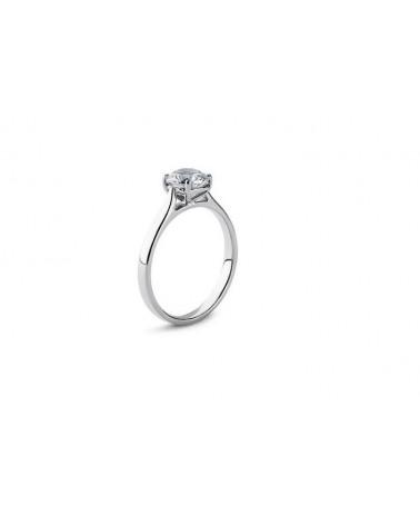 Anello in oro bianco con diamante solitario 0,15 H SI