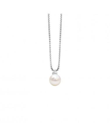 Pendente in oro bianco con perla akoya e diamante