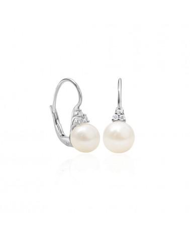 Orecchini in oro bianco con perla akoya e diamante