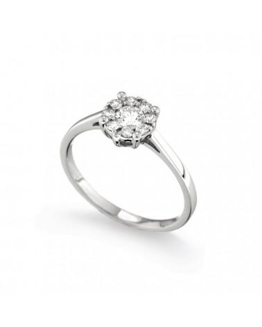 Anello in oro bianco con diamanti 0.36 G-SI