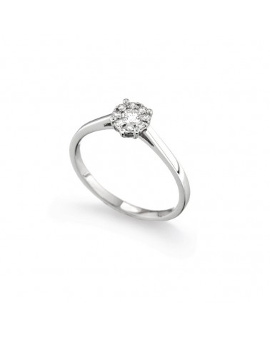 Anello in oro bianco con diamanti 0.18 G-SI